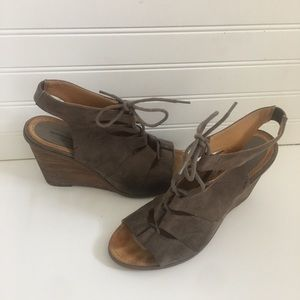 Melrose and Market lace up brown suede wedges 10M